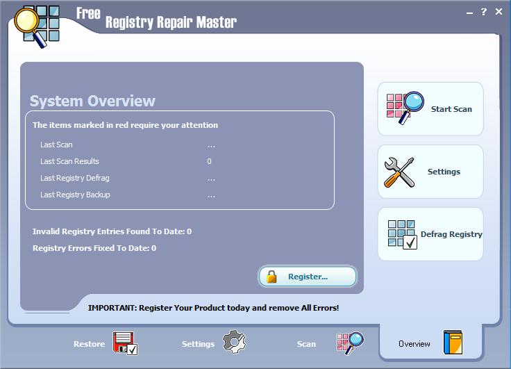 Free Registry Repair Master